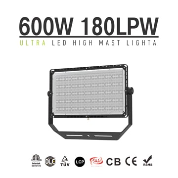 LED Stadium Spotlight 600W 108000Lm | Outdoor Black Dimmable High Mast Light