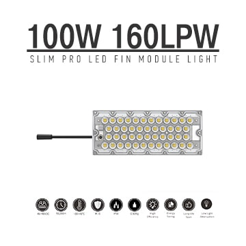 100W LED Fin Module Light, Waterproof Lumileds 5050 160Lm/W Area Light