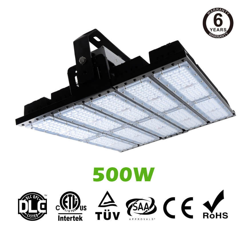 500W LED Flat High Bay Light 62500 Lumen Equivalent 2000W HID/Metal Halide Light